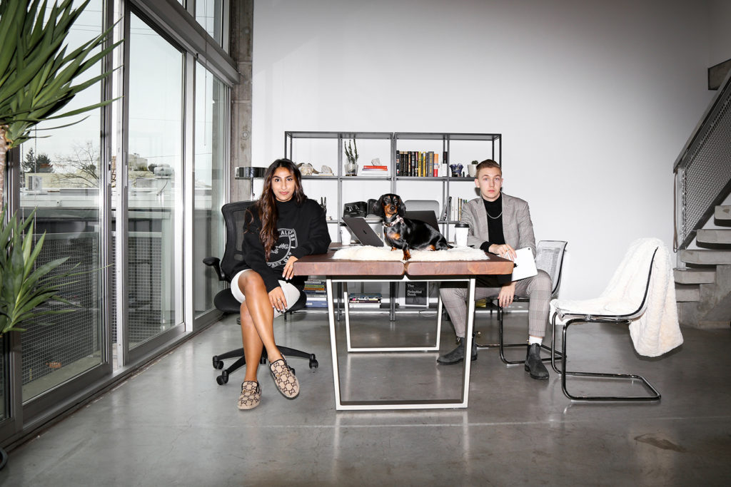 Female entrepreneur Paige Sandher is photographed with the Co-Founder of Pulse Media, Harrison Gordon.
